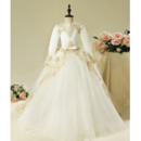 Gorgeous Ball Gown V-back Long Length Appliques Tulle Flower Girl Dresses with Long Sleeves/ First Communion Dresses
