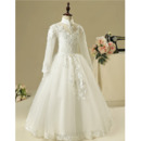 Fashionable Mandarin Collar Long Length Appliques Tulle Flower Girl Dresses with Long Sleeves/ Pretty Open Back First Communion