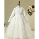Adorable Classic Floor Length Lace Tulle Flower Girl Dresses with Long Sleeves/ First Communion Dresses