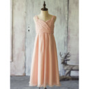 Simple Discount A-Line Wide Straps Tea Length Chiffon Flower Girl Dresses with Shirred Skirt