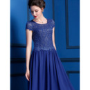 Tailored Affordable Tea Length Pleated Chiffon Lace Mother Dresses with Short Cap Sleeves