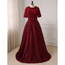 Couture Discount Full Length Lace Satin Plus Size Mother of the Bride Dress with Short Sleeves