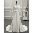 Feminine Illusion Sweetheart Neckline Court Train Appliques Chiffon Wedding Dresses with 3/4 Long Illusion Sleeves