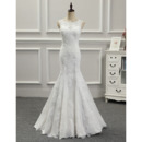 Elegantly Illusion Neckline Lace Appliques Tulle Wedding Dresses with Detachable Trains