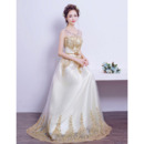 Gorgeous Illusion Neckline Beading Appliques Tulle Wedding Dresses