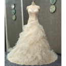 Stunning Crystal Beaded Sweetheart Sweep Train Organza Wedding Dresses with Embroidered Organza Overlay
