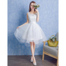 Custom A-Line Sleeveless Knee Length Lace Organza Wedding Dresses