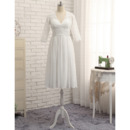 Sexy V-Neck Knee Length Lace Plus Size Chiffon Wedding Dress with 3/4 Long Sleeves