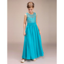Affordable Ankle Length Chiffon Lace Junior Bridesmaid Dresses