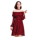Charming Classy Ruffled Neckline Off-the-shoulder Lace Cocktail/ Holiday Dresses with Long Sleeves for women