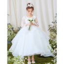 Gorgeous Ball Gown Ankle Length Organza Flower Girl Dresses with Layered Draped High-Low Skirt