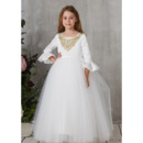 Pretty Appliques Beaded Full Length First Communion Dresses with Bell Sleeves