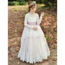 Perfect Long Sleeves Tulle Flower Girl Dresses with Layered Draped High-Low Skirt