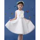 Simple Pretty A-Line Sleeveless Knee Length White Lace Flower Girl Dresses with Belt