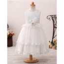 Pretty New Arrival Ball Gown Tea Length Satin Tulle Flower Girl Dresses for Wedding