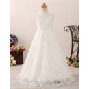 Lovely A-Line V-back Floor Length Lace Flower Girl Communion Dress