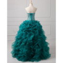Gorgeous Crystal Beading Ball Gown Sweetheart Full Length Prom/ Quinceanera Dresses with Ruffles Galore
