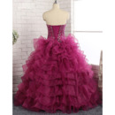 Gorgeous Crystal Beading Ball Gown Sweetheart Full Length Prom/ Quinceanera Dress with Ruffled Tiered Skirt