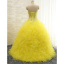 Gorgeous Crystal Beading Ball Gown Sweetheart Full Length Prom/ Quinceanera Dress with Ruffles Galore