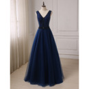 Classy Shimmering Beading A-Line V-Neck Brush Train Tulle Prom/ Party/ Formal Dresses