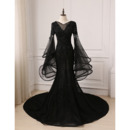 Stunning Modern Appliques Mermaid Court Train Black Tulle Prom Dresses with Trumpet Sleeves