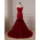 Fashionable Mermaid Sweetheart Court Train Prom/ Party/ Formal Dresses with Hand Made Flowers