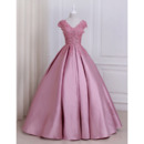 Glamour Beaded Appliques Ball Gown V-Neck Full Length Satin Prom/ Quinceanera Dresses with Cap Sleeves