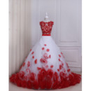 Glamorous Ball Gown Floor Length Two Piece Color Block Prom/ Quinceanera Dress with Hand Made Flowers