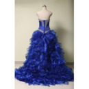 Luxury Beaded Rhinestone Sweetheart Ruffle Tiered Skirt Organza Prom/ Quinceanera Dress with Jacket