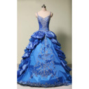 Luxury Beaded Embroidery Ball Gown Spaghetti Straps Floor Length Prom/ Quinceanera Dresses with Ruffled Tiered Skirt