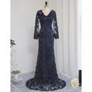 Affordable V-Neck Long Length Lace Prom Dresses with Long Sleeves for Women