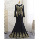 Junoesque Mermaid Appliques Floor Length Black Prom/ Formal Dresses with Long Sleeves for Women