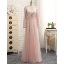 Luxury Crystal V-Neck Full Length Plus Size Prom/ Formal Dresses with Long Sleeves for Women