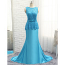 Elegant A-Line V-back Full Length Lace Satin Plus Size Prom/ Formal/ Party Dresses with Peplum