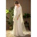 Tailored Simple Elegant V-Neck Long Satin Chiffon Wedding Dresses with 3/4 Long Sleeves