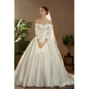 Junoesque Off-the-shoulder Court Train Satin Wedding Dresses with Long Sleeves