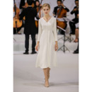 Simple Junoesque V-Neck Tea Length Satin Reception Wedding Dresses with Long Sleeves