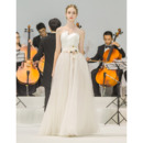 Romantic Asymmetrical Strapless Lace-up Floor Length Satin Tulle Wedding Dresses with Hand-made Flowers