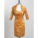 Stunning Short Ruching Taffeta Mother Dresses with Jackets and Flowers