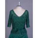 Discount Double V-Neck Lace Bodice Mother Dresses with 3/4 Long Sleeves
