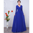Simple Elegance Pleated Chiffon Mother Wedding Dresses with Long Sleeves