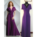 Couture Double V-Neck Plus Size Mother Dresses with Short Sleeves