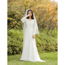 Elegance V-neck Pleated Chiffon Wedding Dresses with Bishop Sleeves