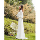 Simple Plunging V-back Long Sleeves Wedding Dresses with Split Front