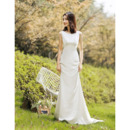 Simple Sheath Sleeveless Satin Wedding Dress with Plunging Scoop Back