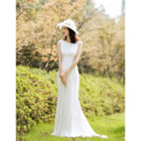Elegant Simple Sheath Sleeveless Wedding Dress with Dramatic Open Back