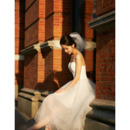 Discount Simple Spaghetti Straps Tea Length Tulle Wedding Dresses