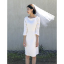 Simple Elegant Column Knee Length Reception Bridal Dresses with 3/4 Long Sleeves