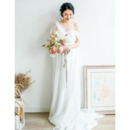 Perfect Asymmetric One Shoulder Long Length Chiffon Bridal Dresses with Cowl back