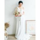 Perfect Asymmetric One Shoulder Long Length Chiffon Bridal Dresses with Cowl back